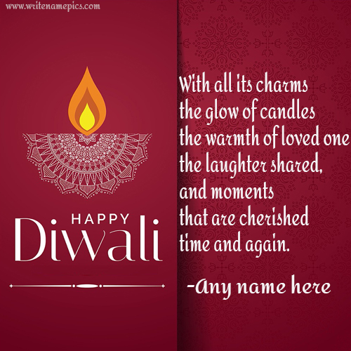 happy diwali greeting card quotes with name
