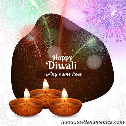 happy diwali wishes 2020 card with name edit