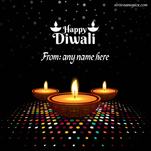 happy diwali wishes diya greeting card with name