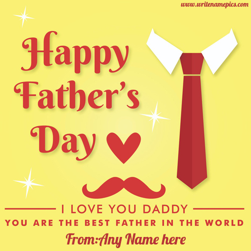 happy fathers day 2019 greetings card with name