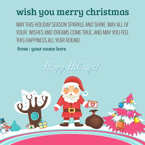 Happy Holiday Merry Christmas Wishes Greeting Cards