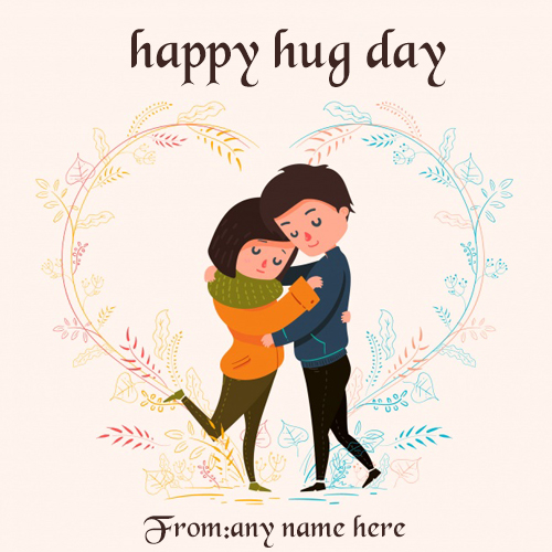 Happy Hug Day Wishes Greeting Card With Name Images