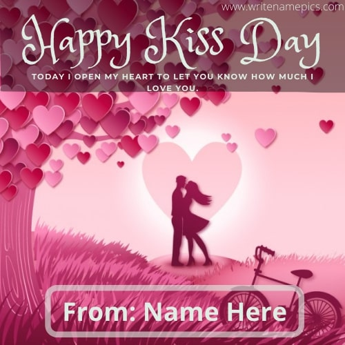 happy kiss day card with name edit online