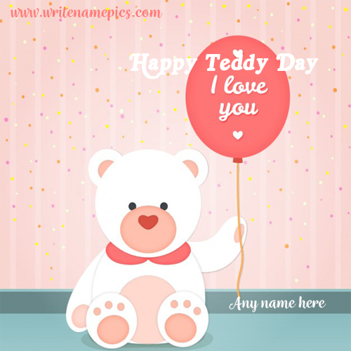happy teddy day greetings card with name pic