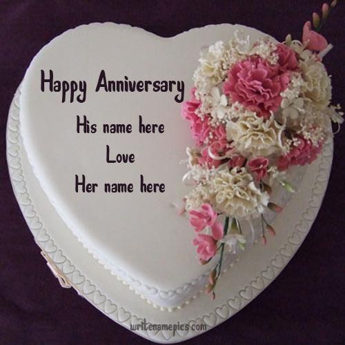 happy wedding anniversary cake with name edit free