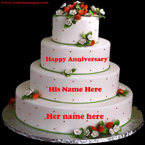 happy wedding anniversary cake with name