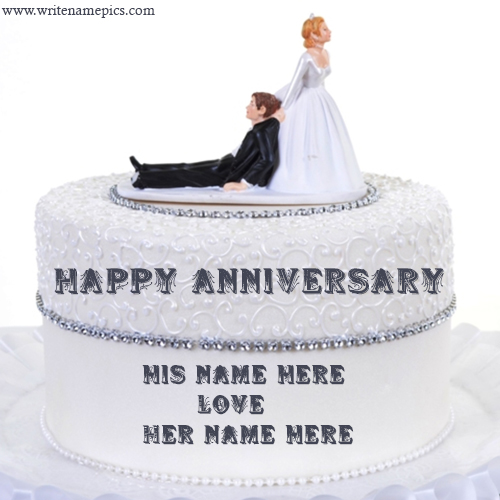 happy wedding anniversary couple cake with name