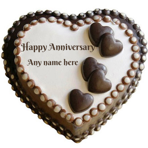 heart shape happy anniversary chocolate cake with name