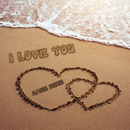 Love Wallpaper Name Edit : i love you sand writing on the beach
