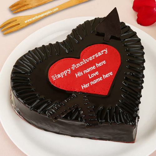 love heart chocolate anniversary cake with name edit