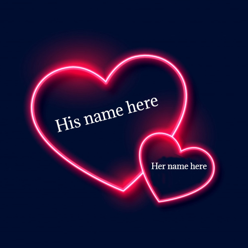 love lighting heart pic with couple name edit