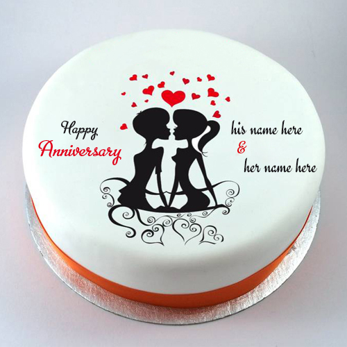 lovely couple wedding anniversary cake with name