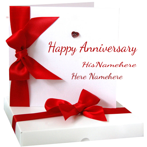 Marriage anniversary wishes card with couple name edit