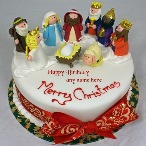 Christmas Birthday Cake.Merry Christmas Santa Claus Xmas Birthday Cakes With Name Edit
