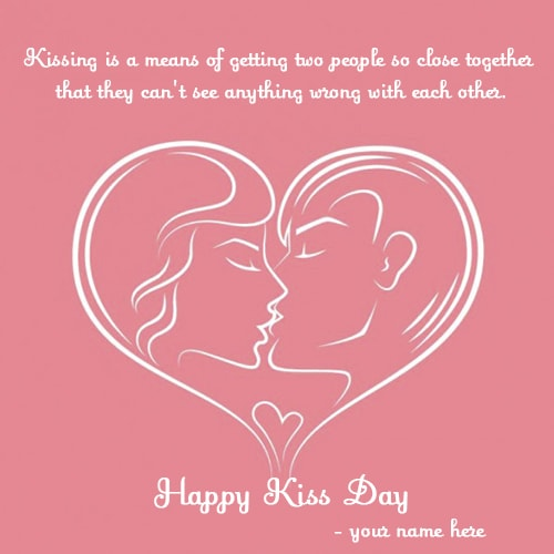 name on happy kiss day hearts love pics