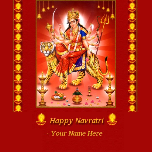 name on happy navratri wishes with maa ambe images