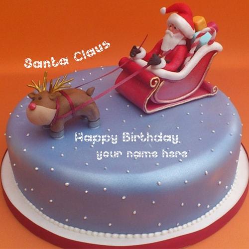 Name On Merry Christmas Santa Claus Design Birthday Cake