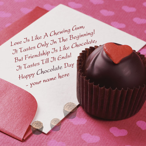 online edit happy chocolate day wishes card with your name
