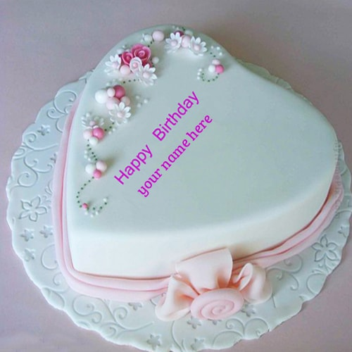 pink heart shaped love birthday cake with name edit
