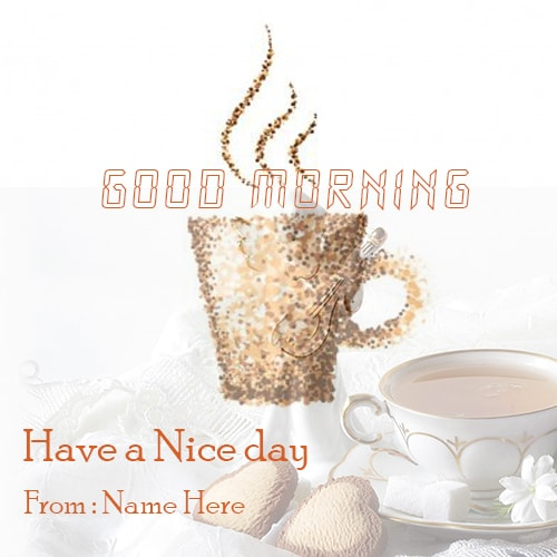 print name good morning image with coffee cup