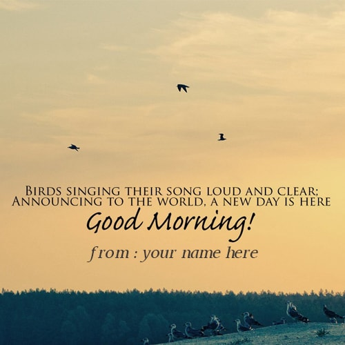 Print name good morning wishes quotes birds greeting cards m4hsunfo