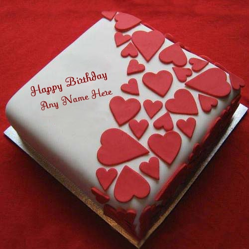 Heart Shaped Cake With Name Image : red heart shaped birthday cake with name