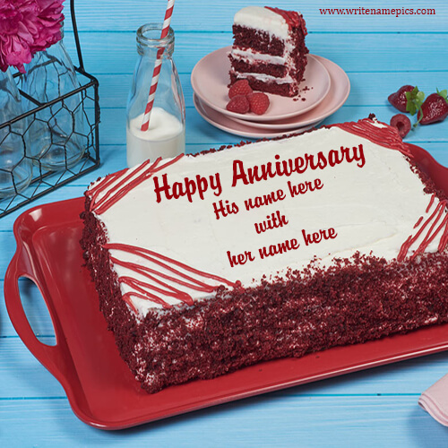red velvet anniversary cake with name