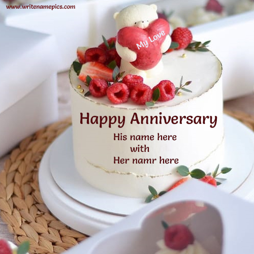 romantic anniversary cake with name edit for free