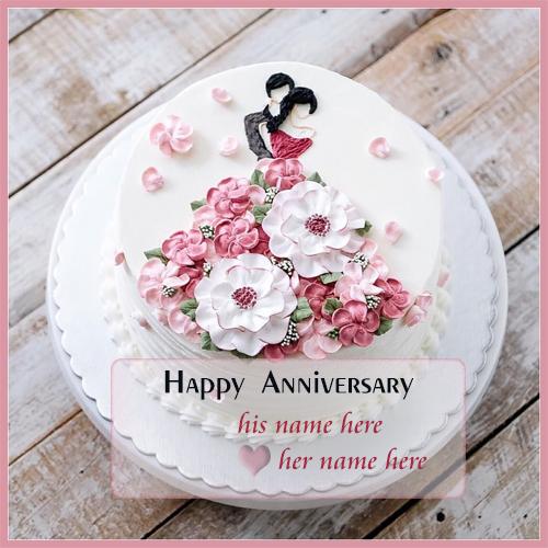 romantic anniversary cake with name edit