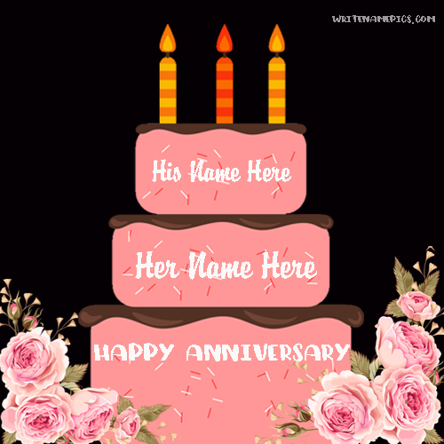 romantic anniversary cake with name