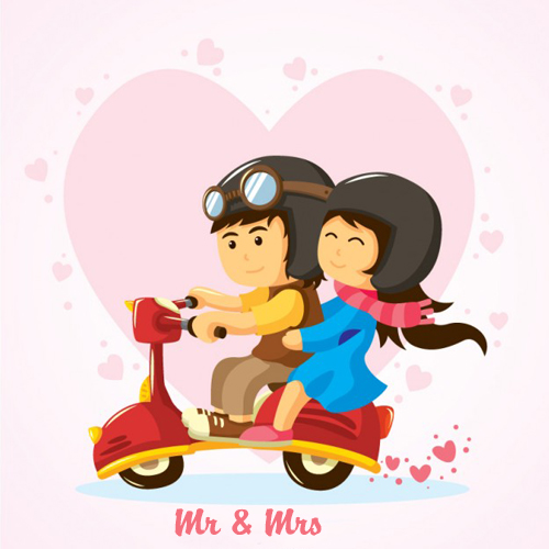romantic couple riding on bike with your name