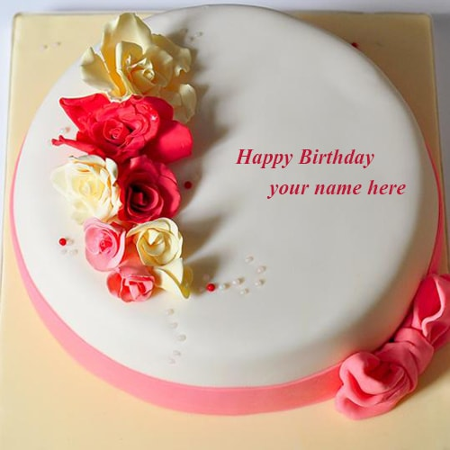 Birthday Images With Flowers And Cake With Names : rose flowers happy birthday cake images name editor