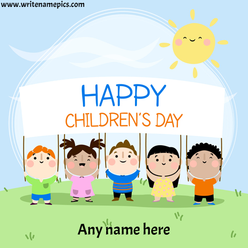 special children day wishes card with name pic free