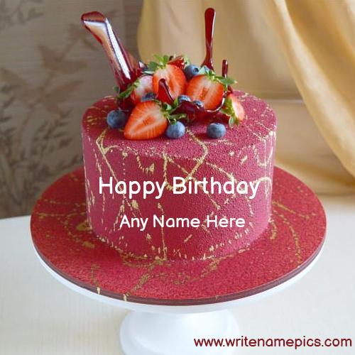 strawberry birthday cake with name editor