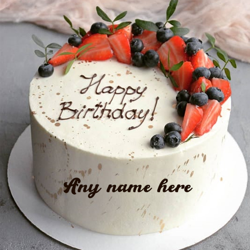 strawberry birthday cake with name free edit