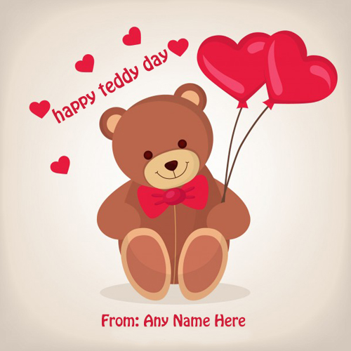 teddy bear day wishes card with name images