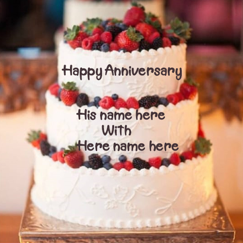 three layers Anniversary Wish Cake Name Pictures
