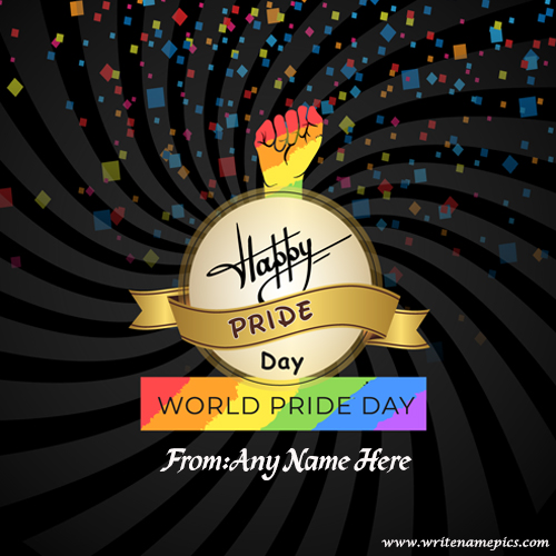 world pride day 2019 wishes greetings card with name