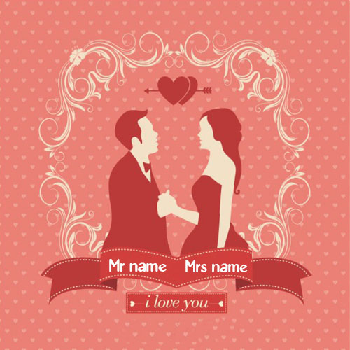 write a couple name on happy anniversary greeting card