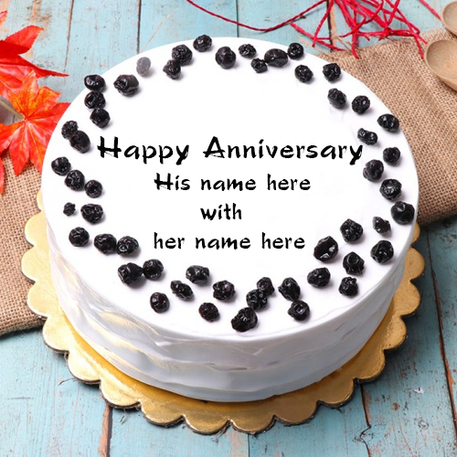 write a name on happy anniversary cake with couple name edit