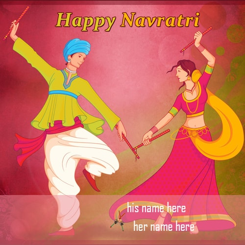 write couple name happy navratri wishes images