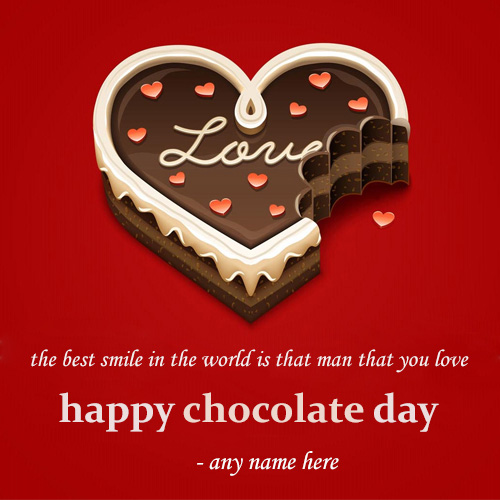 write name on beautiful love heart happy chocolate day greeting card
