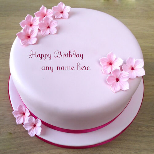 write name on beautiful pink flowers birthday cake photo