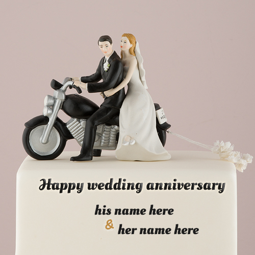 write name on bike couple wedding anniversary cake images