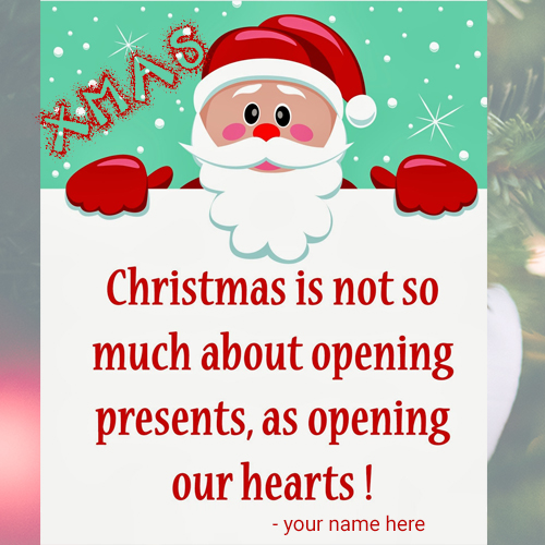 Incroyable Write Name On Christmas Quotes For Cards For Free