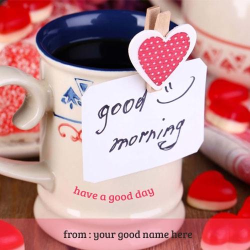 write name on good morning mug images