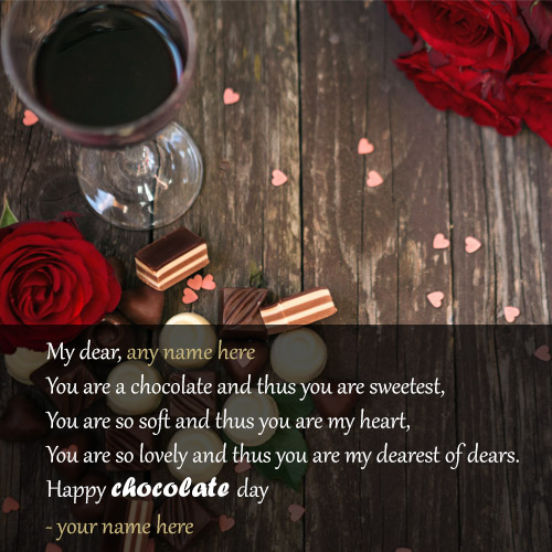 write name on happy chocolate day wishes greetings cards