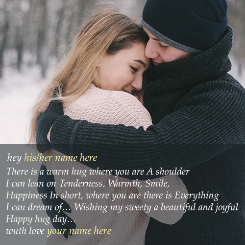 write name on happy hug day 2018 wishes images with name
