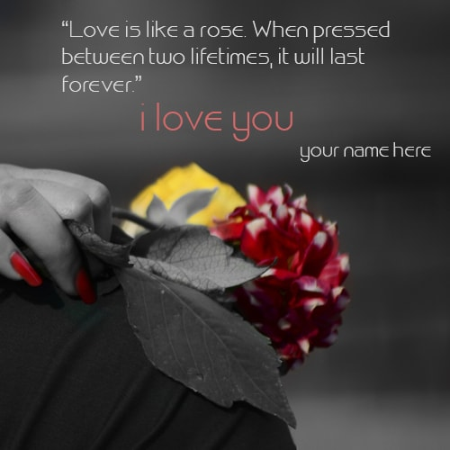 write name on love rose quotes images