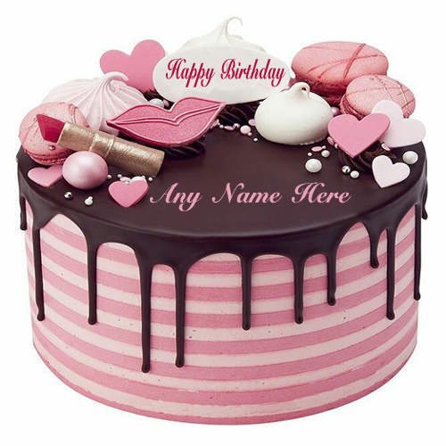 write name on lovely beautiful pink birthday cake for your special one